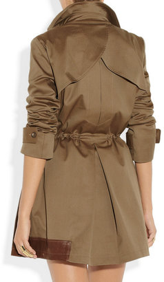 Thakoon Leather-trimmed cotton-blend canvas trench coat