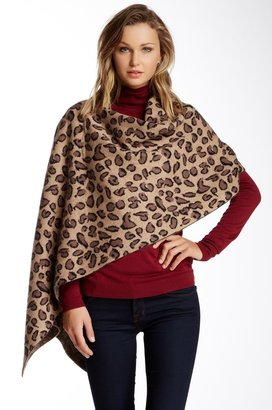 Portolano Animal Print Wool & Cashmere Blend Poncho