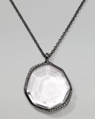 Ippolita Pave Diamond Pendant Necklace, Clear Quartz