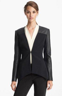 Yigal Azrou?l Azrouël Leather Sleeve Peplum Jacket