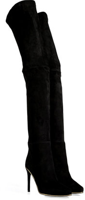 Balmain Stretch Suede Over-the-Knee Boots in Black