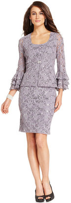 Jessica Howard Dress and Jacket, Sleeveless Sequined Lace Sheath