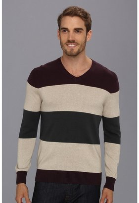 Perry Ellis Rugby Stripe V-Neck Sweater (Stone) - Apparel