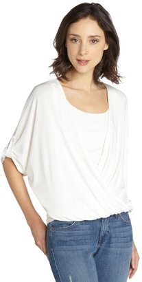 Wyatt White Stretch Jersey Draped Crossover 3/4 Sleeve Top
