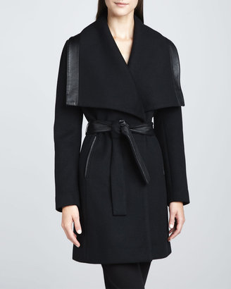 Elie Tahari Marina Leather-Trim Coat