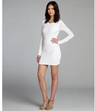 Torn By Ronny Kobo white textured stripe 'Tara' slub dress