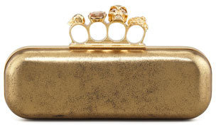 Alexander McQueen Metallic Long Knuckle Box Clutch Bag, Gold