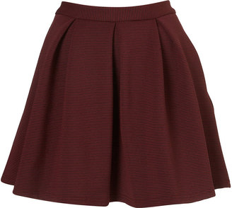 Topshop Oxblood Ribbed Pleated Skirt