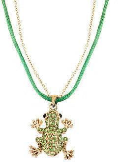 Betsey Johnson Green Pave Frog Pendant Necklace