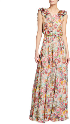 Zimmermann The Lovestruck Ruffle Tie-Back Maxi Dress
