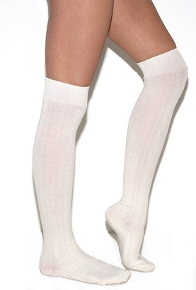 Foot Traffic Cable Knit Over The Knee Socks in Ivory