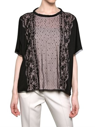 Valentino Embroidered Silk Lace On Jersey T-Shirt