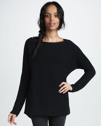 Vince Horizontal-Ribbed Knit Sweater
