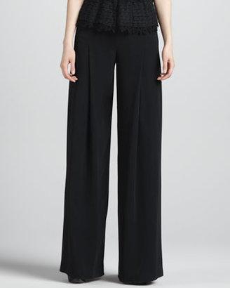Oscar de la Renta Wide-Leg Side-Zip Pants, Black