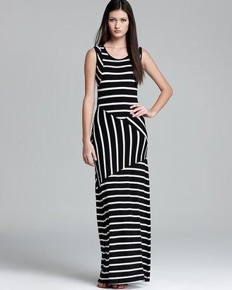 Aqua Maxi Dress - Stripe Open Back