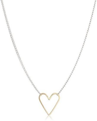 """Jane Hollinger Moving Shapes"""" Mixed Metal Large Heart Necklace"""