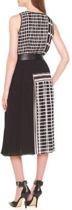 MICHAEL Michael Kors Mixed-Print Pleated Dress