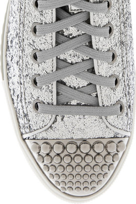Miu Miu Glitter-finished high-top sneakers