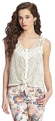Takara Embroidered Tie-Front Top