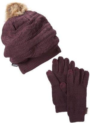 Muk Luks Women's Eggplant Beanie and Texting Glove Set