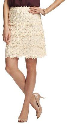 LOFT Petite Cotton Tiered Lace Skirt