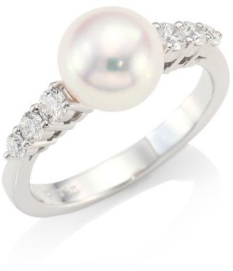 Mikimoto Morning Dew 18K White Gold, 8MM Cultured Akoya Pearl & Diamond Ring
