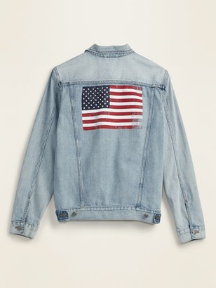 Old Navy American Flag Graphic Jean Jacket for Men
