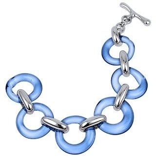 Murano Masini Blue Round Glass & Sterling Silver Bracelet