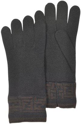 Fendi Women's Zucca Logo Cuff Knit Wool Gloves