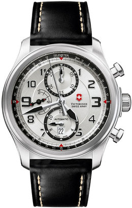 Swiss Army Victorinox Watch, Men's Automatic Chronograph Infantry Vintage Black Leather Strap 241449