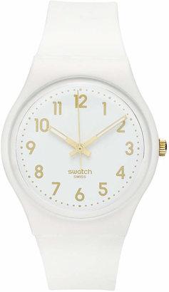 Swatch Watch, Unisex Swiss White Bishop White Silicone Strap 41mm GW164 $50 thestylecure.com