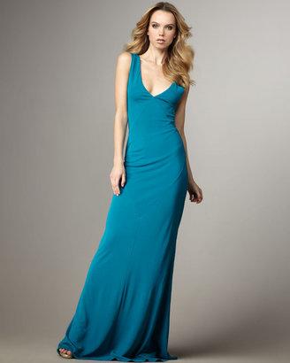 Halston Deep-V Long Dress