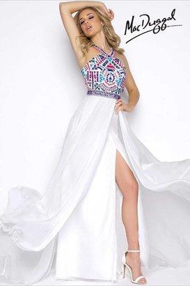 Cassandra Stone - 40627 High Neck Gown In White Multi