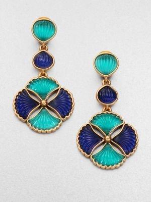 Oscar de la Renta Bicolor Fluted Clip-On Drop Earrings