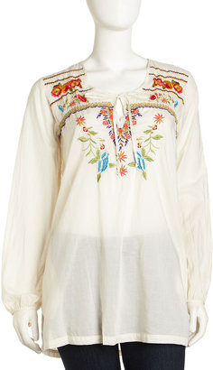 Johnny Was Floral Embroidered Tunic, Gray Whisper
