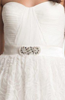 Adrianna Papell Women's Pleat Bodice Rosette Ballgown, Size 6 - Black
