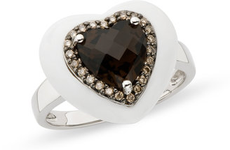 Ice.com 8 1/2 Carat White Agate, Smokey Quartz & Brown Diamond Sterling Silver Heart Ring