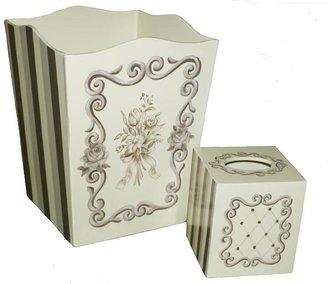 Lavender Versailles Trash Bin and TIssue Box Set