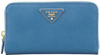 Prada Saffiano Triangle Zip-Around Wallet, Cobalt (Cobalto)