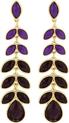 Greenbeads Leaf Linear Earrings, Purple