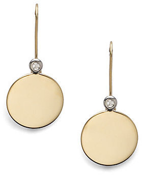 Roberto Coin Diamond & 18K Yellow Gold Round Disc Earrings