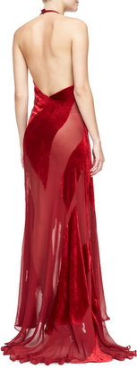 Donna Karan Burnout Velvet & Chiffon Halter Gown, Ruby