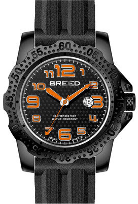 Breed Men's Deep 1904 - Black Silicone/Black Analog Watches