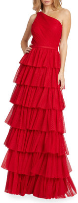 Mac Duggal One-Shoulder Ruffle-Tiered A-Line Gown