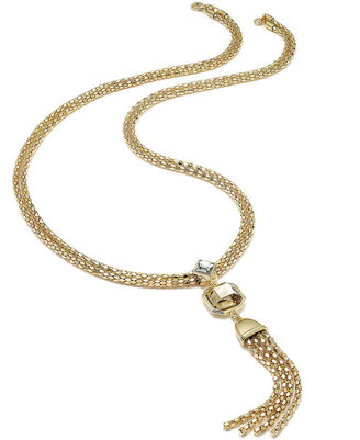 Charter Club Gold-Tone Crystal and Tassel Pendant Necklace