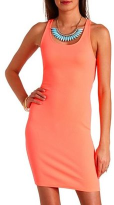 Charlotte Russe Textured Neon Cut-Out Bodycon Dress