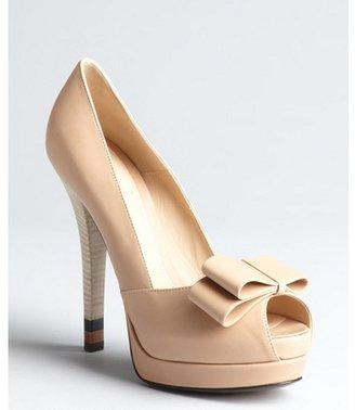 Fendi make up leather bow peep toe platforms