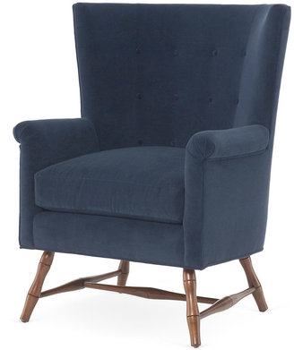 Bunny Williams Home Westcott Wingback Chair, Navy Linen