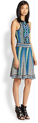 Torn By Ronny Kobo Graphic Jacquard Body-Con Dress