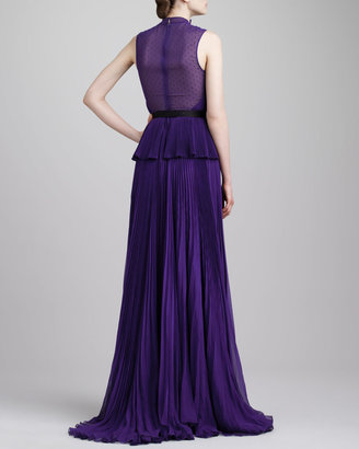 Jason Wu Swiss Dot-Inset Pleated Peplum Gown, Violet
